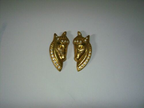 PAIR VINTAGE GOLDTONE METAL HORSE HEAD SHOE CLIPS RHINESTONE ACCENTS