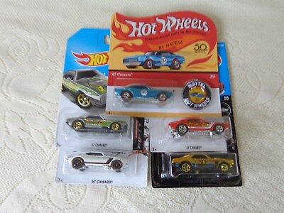 LOT OF 5 HOT WHEELS 50TH ANNIVERSARY 67 CAMARO 2018 GOLD CHASE ZAMAC