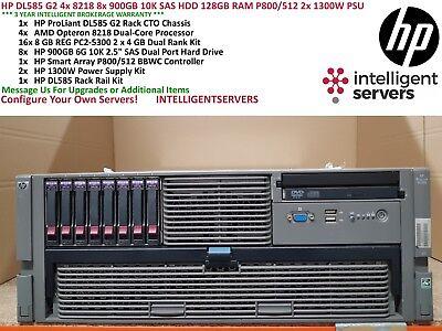 HP DL585 G2 4x 8218 8x 900GB 10K SAS HDD 128G P800/512 2x 1300W PSU 4U Server - Dl585 G2 Server