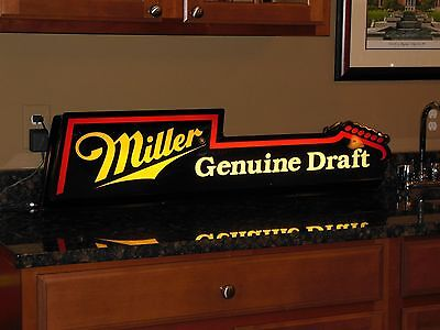 Vintage Miller Draft Beer Electric Guitar Lite/Lighted Bar Sign Black/Red/Yellow