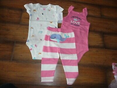 NEW NWT Carters girls 6 months 3 piece whale/sea life pant set outfit
