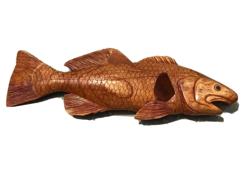 SNOOK  WALL HAND CARVED WOOD ART HOME DECOR FISH TIKI BAR SALTWATER