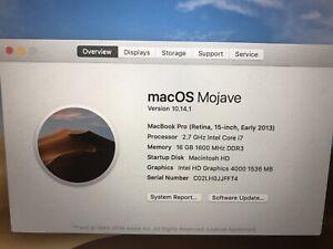 Apple MacBook Pro (Retina 15inch, Early 2013)