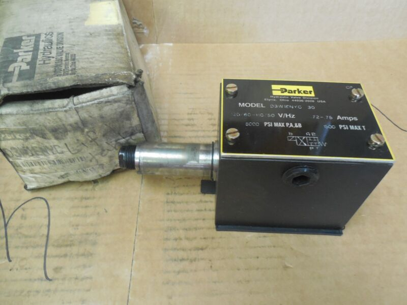 Parker Hydraulic Solenoid Valve D3W1ENYC-30 120 Volt 5000 PSI Used