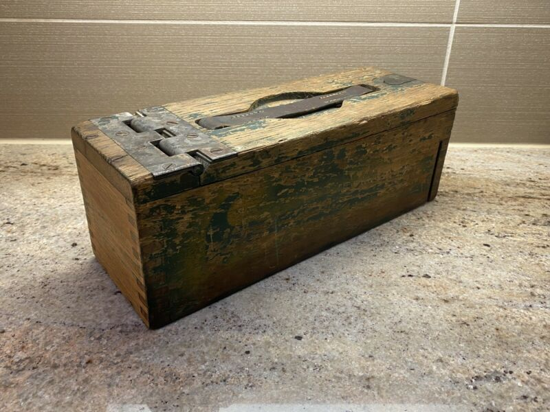 WWI US M1917 Wood Box Ammo Can Browning Machine Gun Dovetailed Metal Hinge/Latch