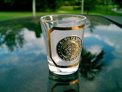 "ASPEN  PEWTER LEAF DESIGN SHOT GLASS  2 3 /8 "" NICE SOUVENIR"