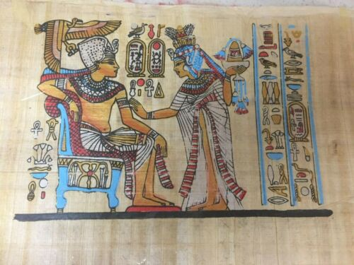 """Authentic Ankhesenamen Offering Gif Hand Painted Papyrus Pharaoh Ancient 8""""x 12"""""""