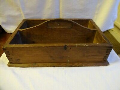 Antique Victorian Wooden Carrier with handle Tongue & Grooved Corners 35 x 23 cm