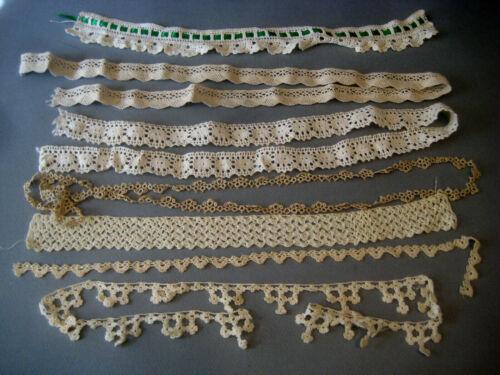 Sewing TRIM LOT vintage crochet lace tatting lengths ecru white