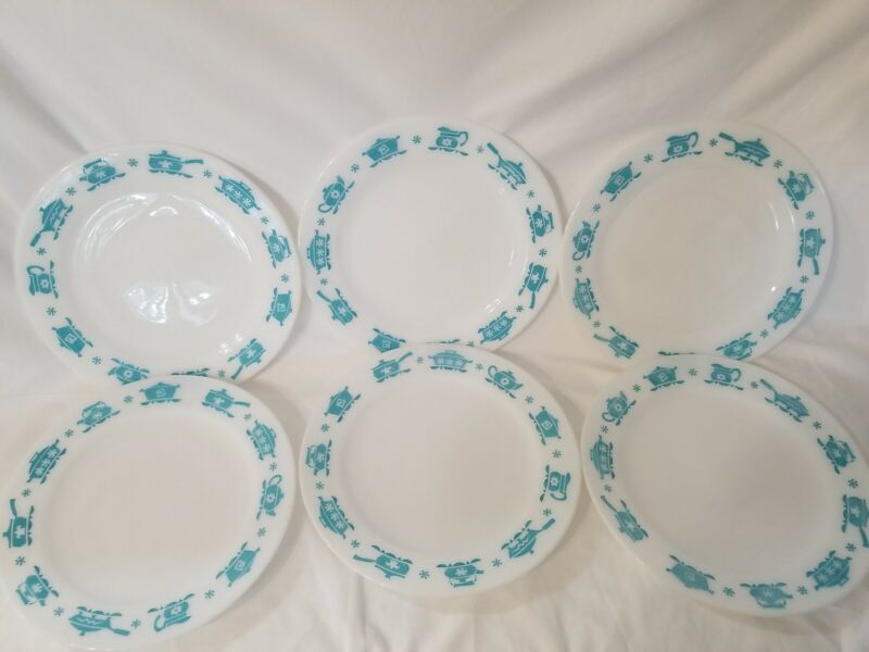"Beautiful HTF Vintage Hazel Atlas Turquoise Kitchen Aids Set of (6) 9"" Plates"