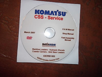 Komatsu Backhoes Skid Steer Loaders Service Shop Repair Manual Cd