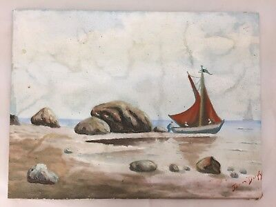 """SIGNED JEAN DUFY (1877-1953) FRENCH SAIL BOAT SEA BEACH SHORE PAINTING 16 X 12"""""""