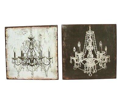 (30381) CUADRO PLACA METAL CHAPA ANTIGUA LAMPARA CRISTAL BLANCO Y NEGRO VARIADO