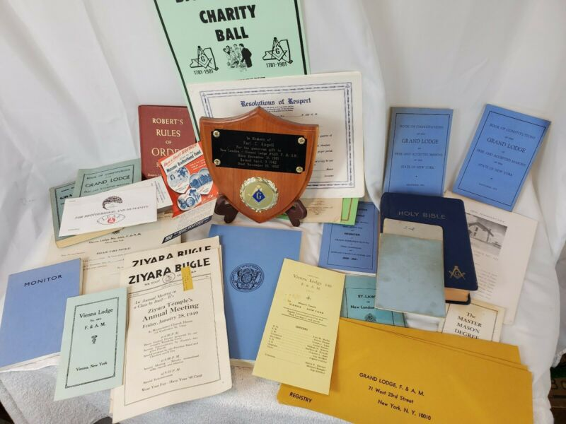 Huge Lot of 48 Vintage Masonic Mason Books Rituals Grand Lodge Shriner Bible