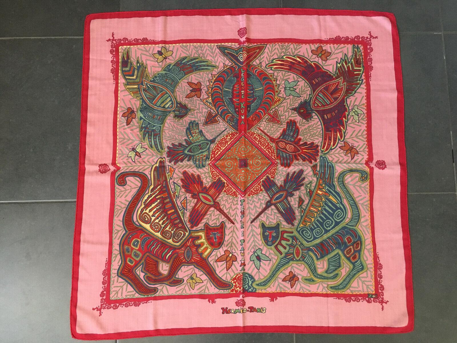 Foulard carré hermès en cachemire et soie - legende kuna peuple de panama 90 cm