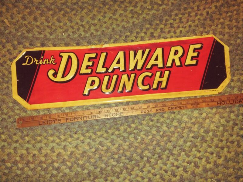 Vtg Embossed Drink DELAWARE PUNCH Beverage Soda Cola TIN Sign 1950