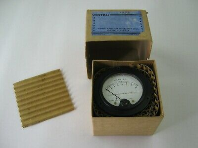 Weston Model 476 Ac Voltmeter Gauge W Original Box Bakelite Body