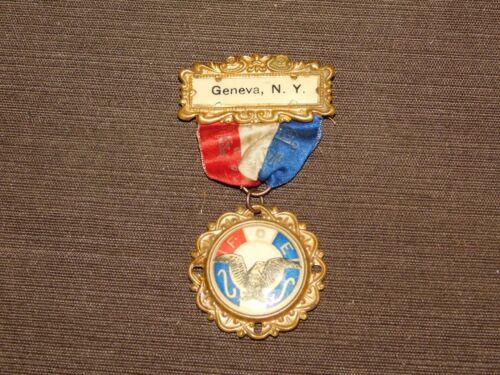 VINTAGE GENEVA NY FOE CONVENTION FRATERNAL ORDER OF EAGLES MEDAL RIBBON PIN