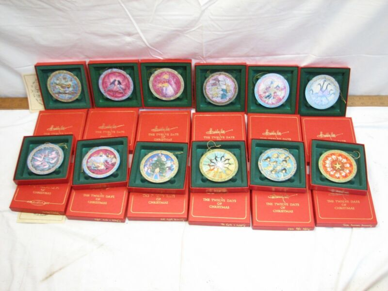Anna Perenna 12 Twelve Days of Christmas Ornaments Porcelain P Buckley Moss Art