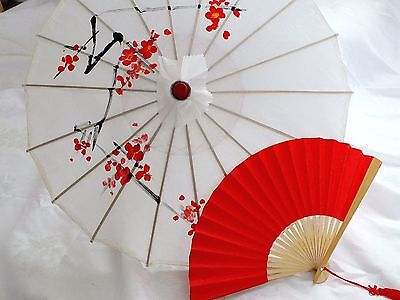 JAPANESE S WHITE PARASOL RED PAPER HAND FAN WEDDING CHINESE GIRL UMBRELLA PARTY