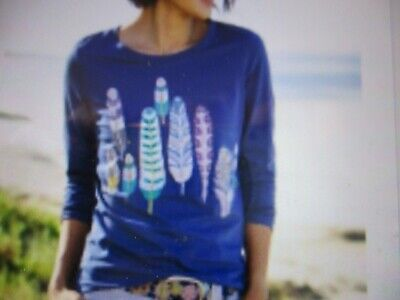 NEW - Women's Long Sleeve Shirt - Navy with Feather Trees Design - Large