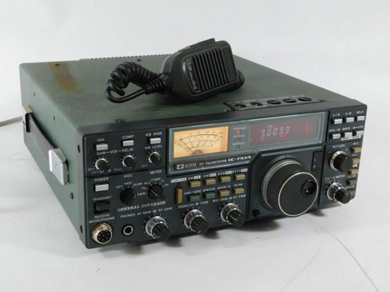 Icom IC-751A Ham Radio Transceiver w/ Mic + AC Cord (works beautifully)