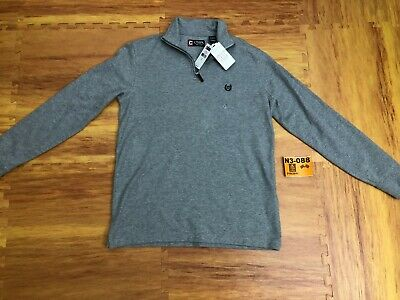 New Men Chaps Mock Neck French Rib Fleece Gray $55 Retail 1/4 Zipper Small S❄️N3
