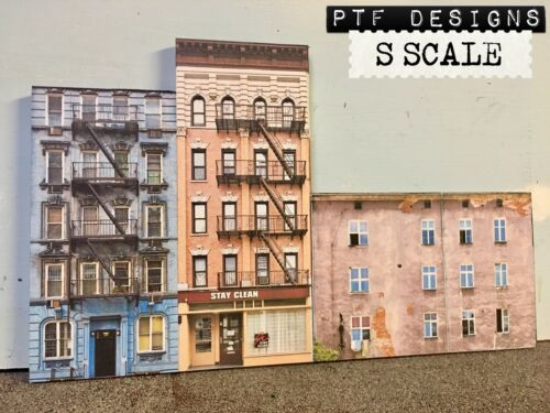 S Scale Apartment #1 Combo Building Flat / Front 3D Background W/LED