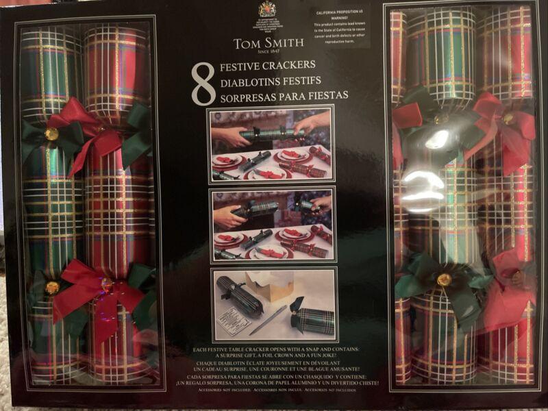 Tom Smith 8 Festive Crackers NIB Christmas Green/Red Plaid