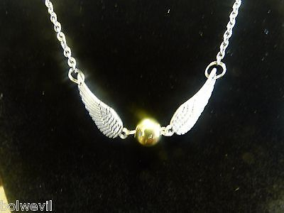 USA Harry Potter Golden Snitch Angel Wings NECKLACE silver and gold tone USA ()