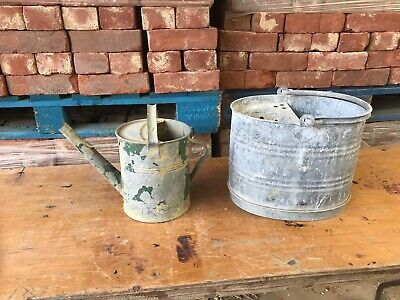 vintage/retro galvanised watering can and bucket- ideal planters