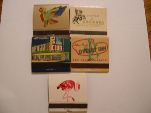 LOT OF 5 VINTAGE CASINO MATCHBOOKS THUNDERBIRD, DI, HACIENDA, FLAMINGO,LV CLUB