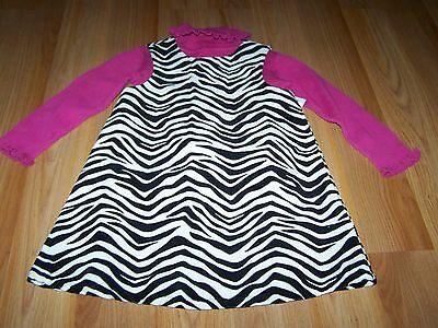 Size 3T Gymboree Wild One Black White Zebra Print Jumper Dress & Pink Turtleneck Wild One Black Zebra