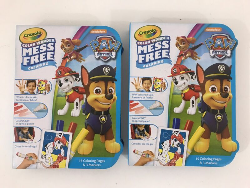 Crayola Color Wonder Paw Patrol Mess Free Coloring 15 Pages 3 Markers LOT OF 2