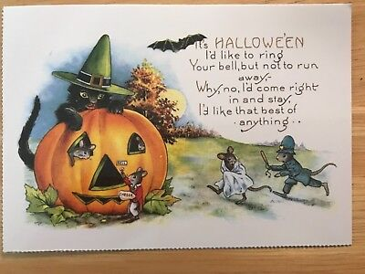 POSTCARD HALLOWEEN -SING A SONG OF HALLOWEEN EARLY 20th CENTURY REPRO VIEW # 2  - Early Century Halloween