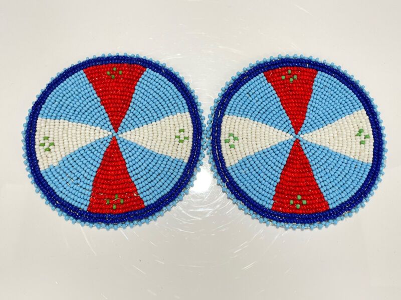 4 inch Beaded Rosettes Red Blue Wheel dDesign Leather Back Set of 2