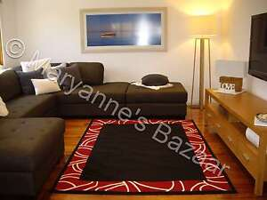 X LARGE FLOOR RUG CARPET PATTERNED MODERN DESIGNER BLACK RED 230 x 160 #1349R11