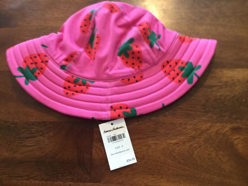 Hanna Andersson small girls strawberry sunblock hat NWT