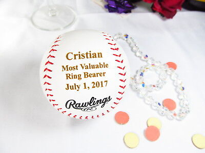 Personalized Engraved Rawlings Baseball Most Valuable Ring Bearer Wedding Gift - Ring Bearer Gift