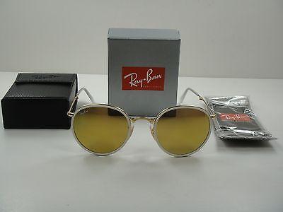 RAY-BAN ROUND FOLDING SUNGLASSES RB3517 001/93 GOLD FRAME/YELLOW FLASH LENS (Ray Ban Round Folding)