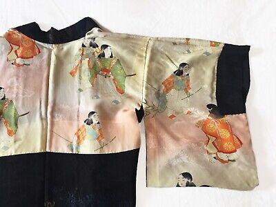 Rare Authentic Vintage Japanese Black Haori Kimono Jacket with metallic thread