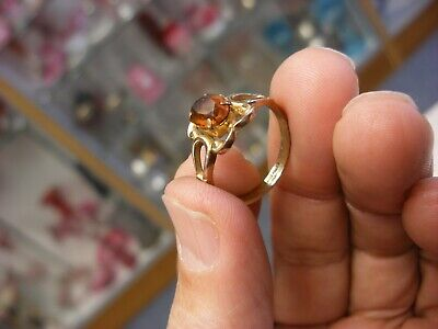 Vintage 10K Gold Filled Ring Yellow Stone Size 7 1/4 #412