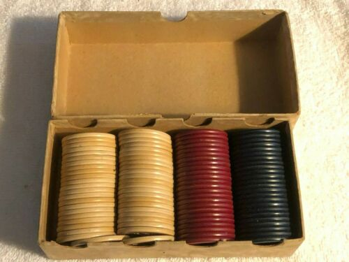 Vintage Box Jockey Club Embossed Poker Chips - 94 Chips