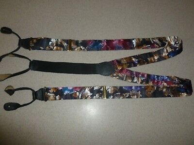 Floral Leather Suspenders - Poly Floral Colorful Leather Fittings Suspender Braces