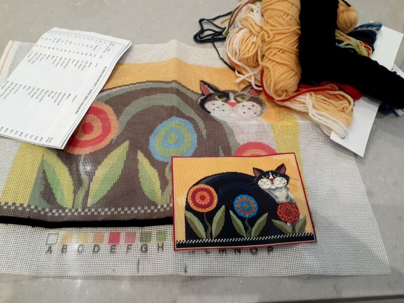 CATS CATS Sunny Day Cat by Elsa Williams, JCA Needlepoint kit. 100% Wool thread