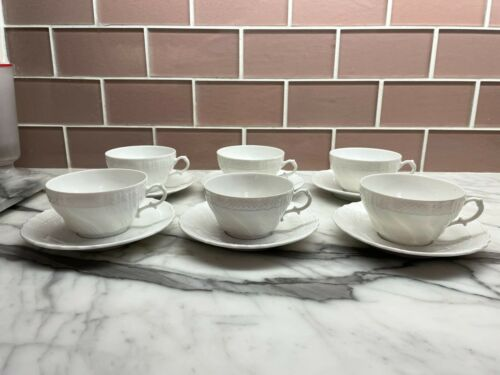 $400+ SET 6 RICHARD GINORI VECCHIO BIANCO WHITE PORCELAIN TEA CUP SAUCER COFFEE