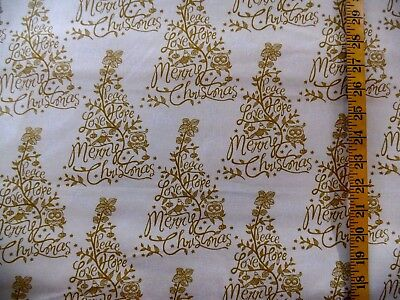 LOVE PEACE & HOPE MERRY CHRISTMAS TREES CREAM 100% COTTON FABRIC BY THE 1/2 YARD ()