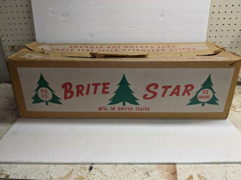 "Rare Brite Star brand Vintage Aluminum Silver Christmas Tree 6 1/2"" 93 branches"