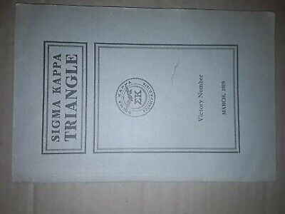 VINTAGE SIGMA KAPPA SORORITY MAGAZINE TRIANGLE March 1919 Victory Number