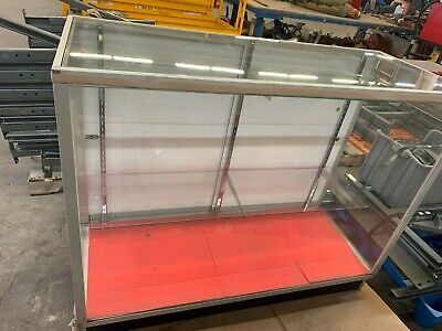 Glass Display Case 2 Shelves 48 X 20 X 38 Overall Sliding Back Door
